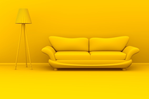 Żółta monochromatyczna ilustracja 3d lampy i sofy w pokoju.