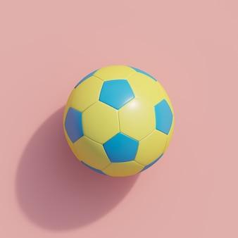 Żółta piłka nożna na różowo