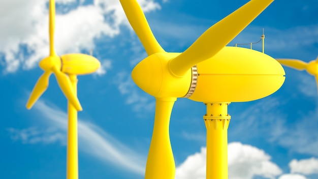 Żółta produkcja energii turbin wiatrowych na błękitnym niebie, renderowanie 3d.