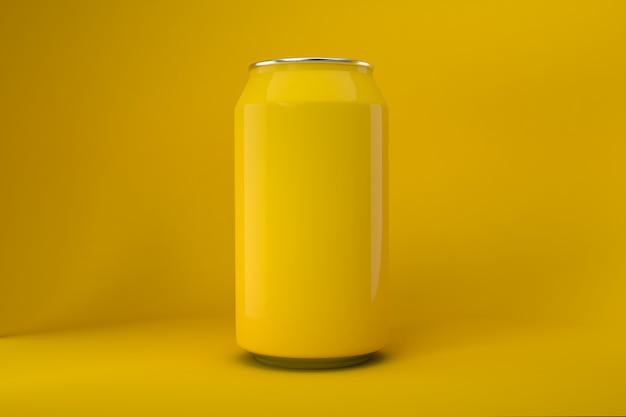 Żółta puszka sody na białym tle