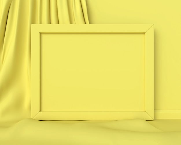 Żółta ramka pozioma. renderowania 3d.