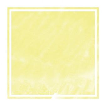 Żółta ręka rysująca akwareli prostokątna ramowa tło tekstura z plamami