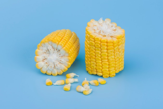 Żółta słodka kukurudza odizolowywająca na błękicie