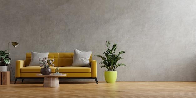 Żółta sofa i drewniany stół we wnętrzu salonu z rośliną, betonowa ściana. renderowanie 3d