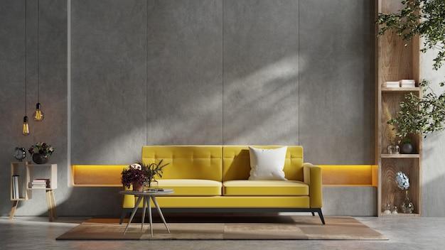 Żółta sofa i drewniany stół we wnętrzu salonu z rośliną