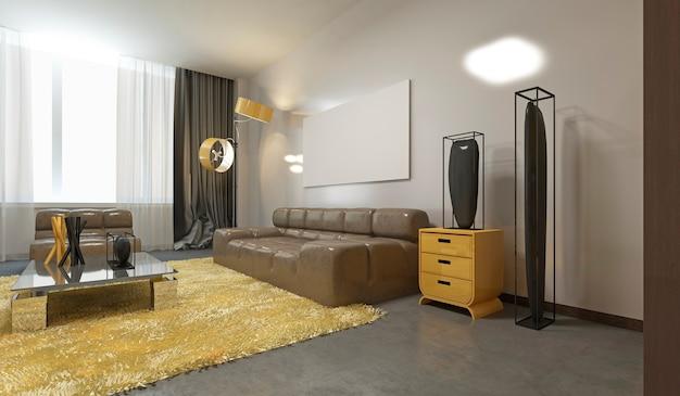 Żółta sofa w nowoczesnym salonie z białym plakatem na szarej ścianie. renderowanie 3d