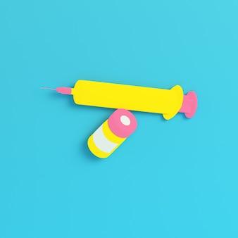 Żółta strzykawka ze szczepionką na jasnym niebieskim tle w pastelowych kolorach. koncepcja minimalizmu. renderowania 3d