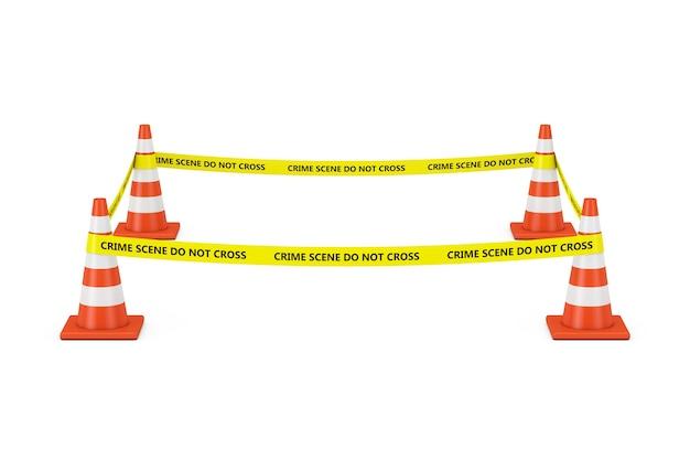 Żółta taśma nie przekracza linii policji z szyszek drogowych na białym tle. renderowanie 3d