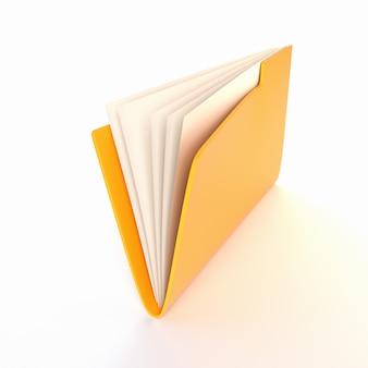 Żółta teczka na białym tle. ilustracja 3d. renderowanie