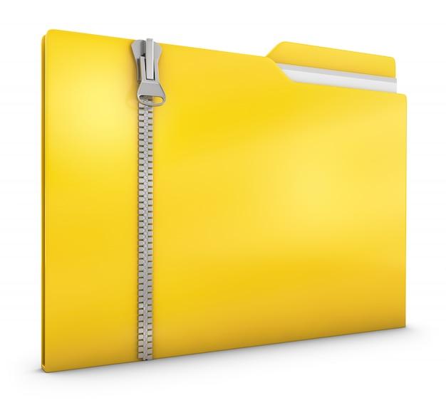 Żółta teczka z zamkiem błyskawicznym