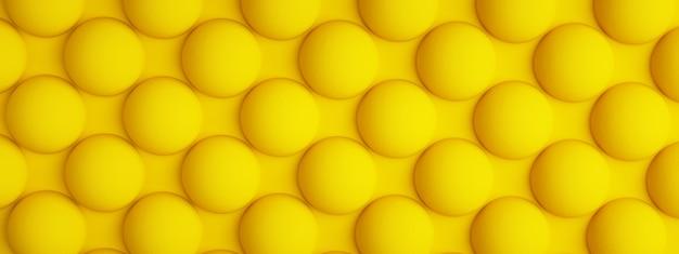 Żółta tekstura z powtarzającymi się okrągłymi wypukłościami, kulistym tłem, renderowaniem 3d, obrazem panoramicznym