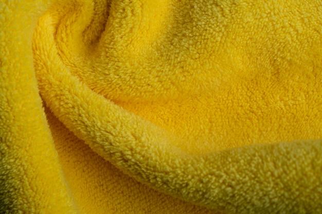 Żółta tkanina tekstura tło, abstrakcyjna, zbliżenie tekstury tkaniny