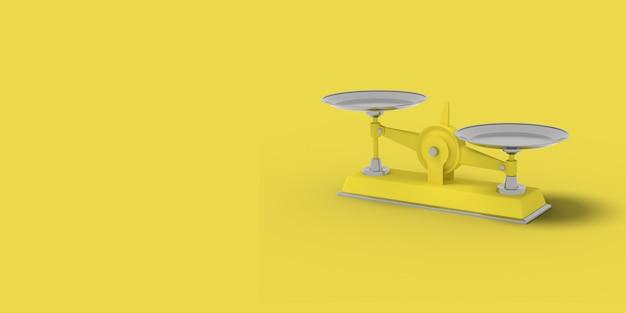 Żółta waga na żółtym tle. abstrakcyjny obraz. minimalna koncepcja biznesowa. renderowania 3d.