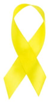 Żółta wstążka symbol świadomości raka dzieciństwa, na białym tle.