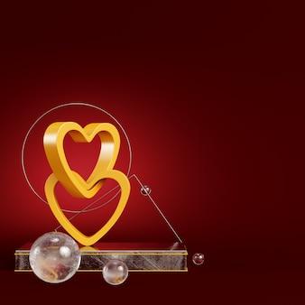 Żółte abstrakcyjne serca z figur geometrycznych na ciemnoczerwonym