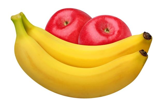 Żółte banany i czerwone jabłka na białym tle. pęczek całych owoców.