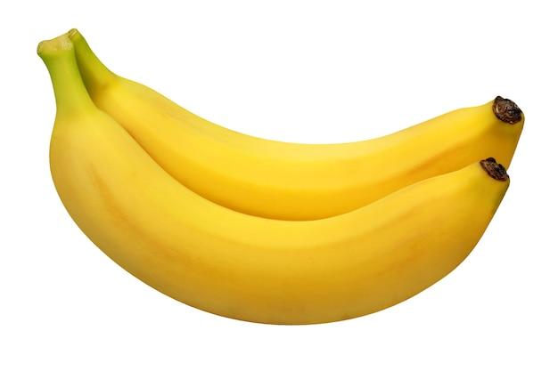 Żółte banany na białym tle. dwa całe owoce.