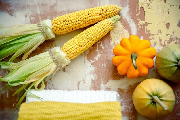 Żółte dynie, jesienne liście na dzianinowym swetrze na rustykalnym drewnie