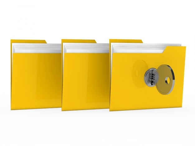 Żółte foldery zablokowana