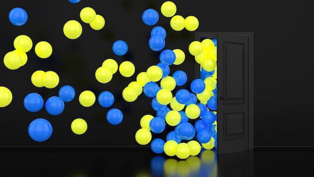 Żółte i niebieskie świecące balony odlatują przez otwarte drzwi we wnętrzu biura