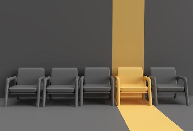 Żółte krzesło wyróżniające się z tłumu. pomysł na biznes. projekt renderowania 3d.