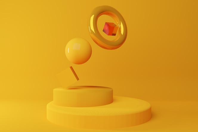 żółte kształty geometryczne tworzą kompozycję na żółtym tle. koncepcja lewitacji