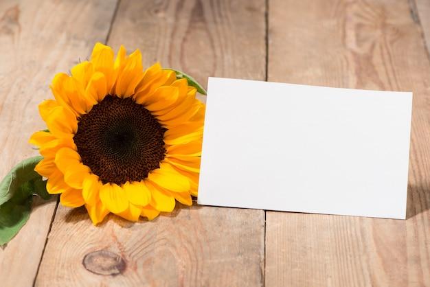 Żółte kwiaty i pusty papier do tekstu na drewnianym tle