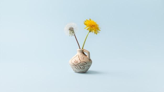 Żółte kwiaty mniszka lekarskiego i jeden kwiat z nasionami na niebieskim tle.