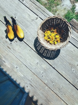 Żółte kwiaty w wiklinowej misce, gumowe buty