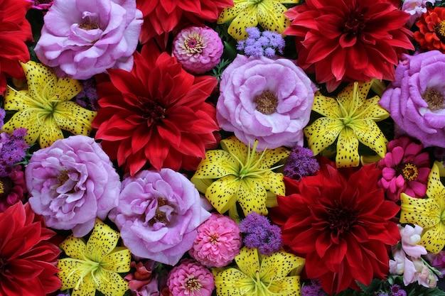 Żółte lilie, czerwone dalie i fioletowe róże.
