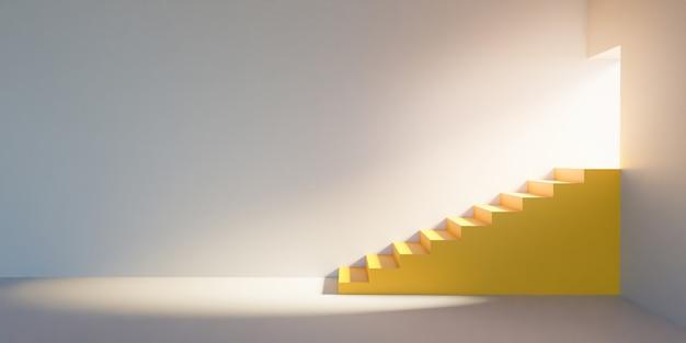 Żółte, minimalistyczne schody z drzwiami, przez które wpada błysk światła i oświetla pomieszczenie
