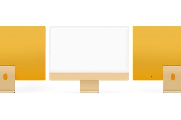 Żółte minimalne urządzenie cyfrowe z ekranem komputera stacjonarnego z przestrzenią projektową
