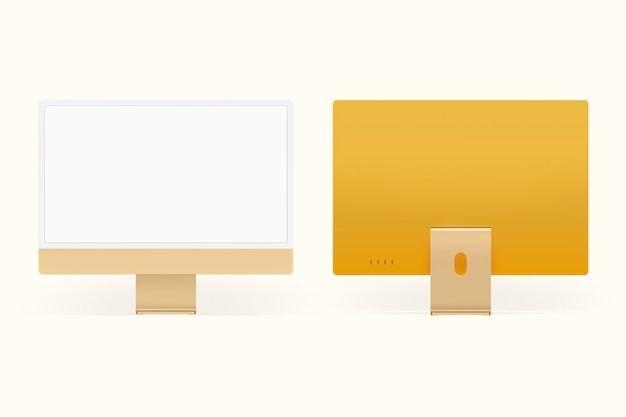 Żółte minimalne urządzenie cyfrowe z ekranem pulpitu z przestrzenią projektową