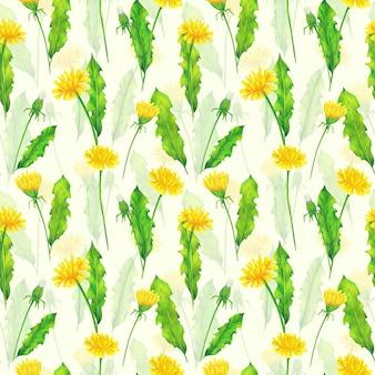 Żółte mlecze i zielone liście wzór na tle koloru kości słoniowej. powtórz letnie kwiaty wydruku. kolorowe kredki ornament dzikich kwiatów.