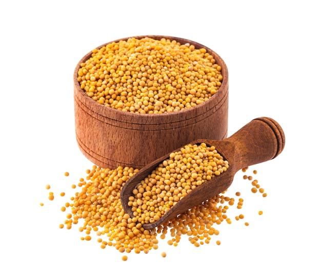 Żółte nasiona gorczycy na białym tle