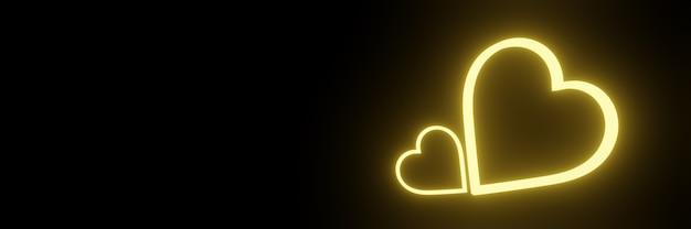 Żółte neonowe serce. świecące światło.