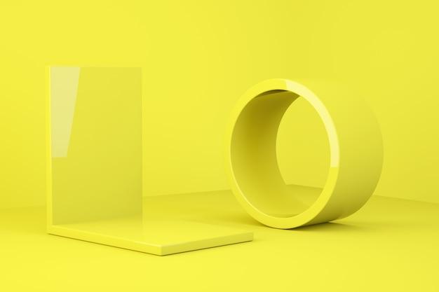 Żółte podium w stylu monochromatycznym.