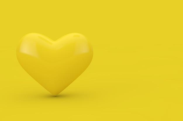 Żółte serce jako styl bichromii na żółtym tle. renderowanie 3d