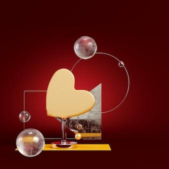 Żółte serce streszczenie z figur geometrycznych na ciemnoczerwonym
