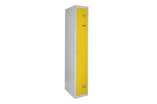 Żółte szafki do szatni. szare metalowe pudełko do zmiany pokoju