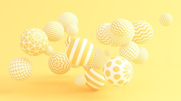 Żółte tło z kulkami. ilustracja, renderowanie 3d.