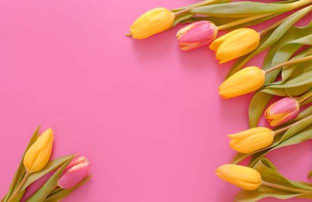 Żółte tulipany ułożone są na różowym tle, miejsce na napis to widok z góry.