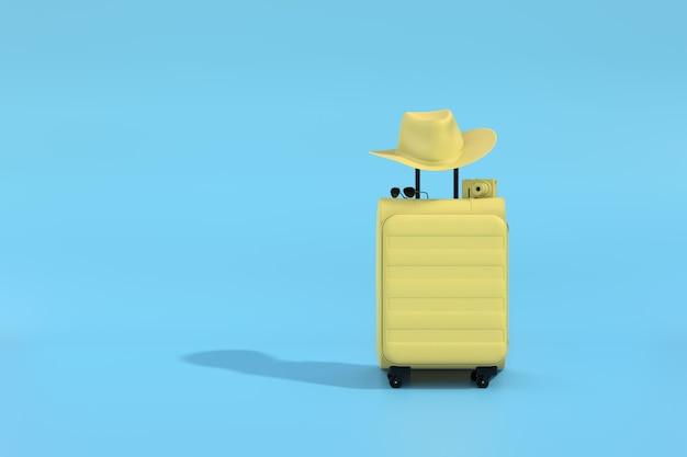Żółte walizki z kamerą i okularami przeciwsłonecznymi na błękitnym tle. minimalna koncepcja. renderowanie 3d.