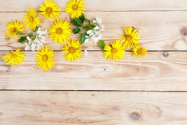Żółte wiosenne kwiaty są ułożone na drewnianym tle. widok z góry.