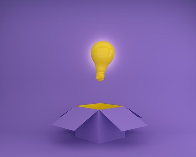Żółte żarówki rozjaśnia kreatywnie pomysł myśl outside pudełko na purpurowym tle.