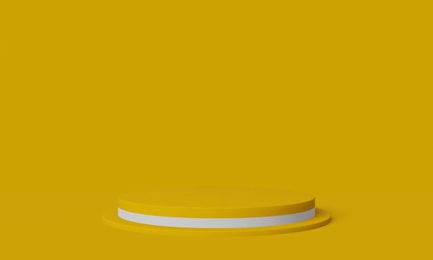 Żółto-białe podium. stojak na produkty geometryczne. ilustracja 3d.