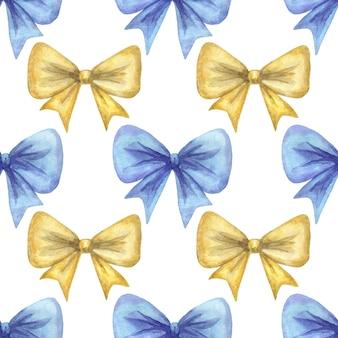 Żółto-niebieskie kokardki. wzór. ręcznie rysowane akwarela ilustracja.