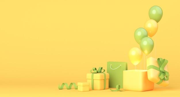 Żółto-zielona kompozycja z pudełkami na prezenty, balonami i torbą na zakupy
