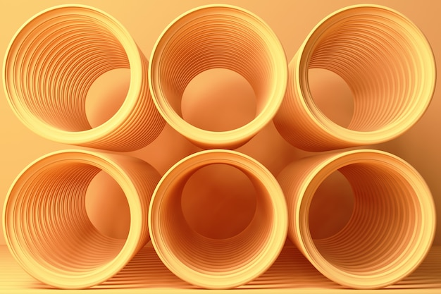 Żółty abstrakt spirali kształt na żółtym 3d renderingu
