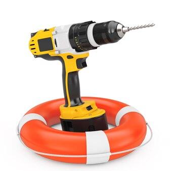 Żółty akumulator i wiertarka akumulatorowa z boją ratunkową na białym tle. renderowanie 3d